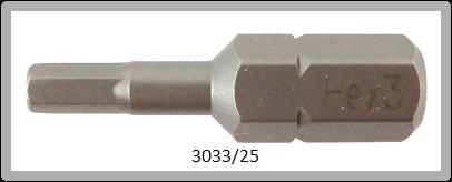"""10 Stück Vessel Industriebit Hexagonal-Schrauben INSERT BIT 1/4"""" HEX E6.3 HEX 3.0 X 25 (mm)"""