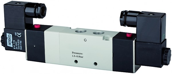 5/3-way valve, electropneumatic, »4V« Centre aerated, M5 - G 1/8 - 1/2, 24 V DC