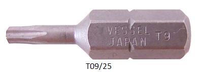 """Vessel Industriebit für Torx-Schrauben INSERT BIT 1/4"""" HEX E6.3 TX 9 X 25 (mm)"""