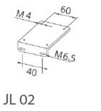 JL02 Angled plate for LED machine lamps; hole spacing in lamp base 60 mm