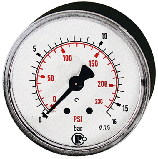 Standard pressure gauge, rear centric, G 1/4, 0 - 25 bar/86 - 360 psi, Ø 50  - 63