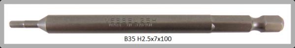 """10 Stück Vessel Industriebit Hexagonal-Schrauben POWER BIT 1/4"""" HEX E6.3  HEX 2.5 X Ø7.0 X 100 (mm)"""