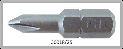"""Vessel Industriebit für Phillips-Schrauben INSERT BIT 1/4"""" HEX E6.3  PH 1 X Ø4.5 X 25 (mm)"""