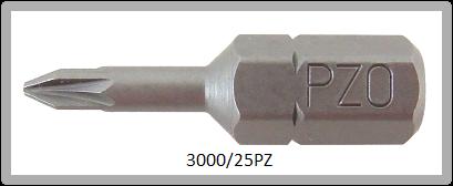 """Vessel Industriebit für Pozidriv-Schrauben INSERT BIT 1/4"""" HEX E6.3 PZ 0 X 25 (mm)"""