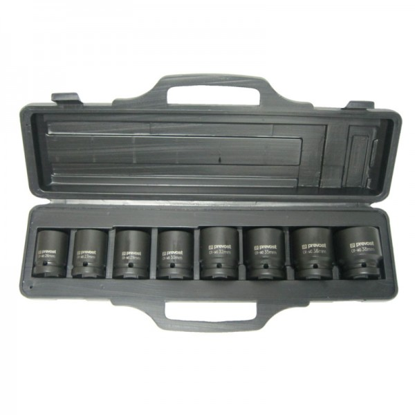 """Box of 8 sockets for 3/8"""" square impact wrenches Prevost TIW 8S38"""