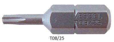 """Vessel Industriebit für Torx-Schrauben INSERT BIT 1/4"""" HEX E6.3  TX 8 X 25 (mm)"""