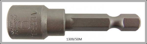 """10 Stück  Vessel magnetische HEX Steckschlüssel POWER BIT 1/4"""" HEX E6.3  A/F 9.0 X Ø14.0 X 50 (mm)"""