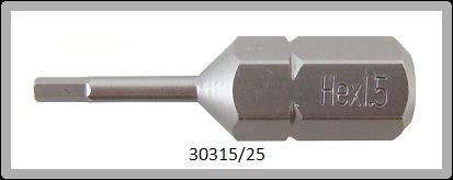 """10 Stück Vessel Industriebit Hexagonal-Schrauben INSERT BIT 1/4"""" HEX E6.3 HEX 1.5 X 25 (mm)"""