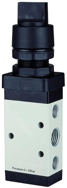 5/2-way valve manual »M5« Rotating handle, monostable, G 1/8 - 1/4