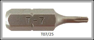 """Vessel Industriebit für Torx-Schrauben INSERT BIT 1/4"""" HEX E6.3  TX 7 X 25 (mm)"""