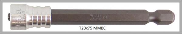 """Vessel Industriebit für Torx-Schrauben POWER BIT - MAGNETIC RING 1/4"""" HEX E6.3 TX 20 X 75 (mm)"""