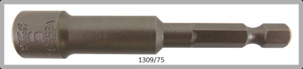 """10 Stück  Vessel HEX Steckschlüssel POWER BIT 1/4"""" HEX E6.3  A/F 9.0 X Ø14.0 X 75 (mm)"""