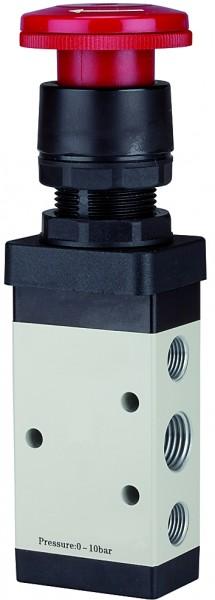 5/2-way valve manually »M5« Palm button, Emergency locking, G 1/8 - 1/4