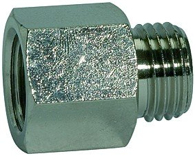 Extension piece, short, various threads i. and o., AF 12 - 32, nickel-plated brass