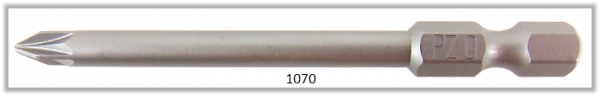 """Vessel Industriebit für Pozidriv-Schrauben POWER BIT 1/4"""" HEX E6.3  PZ 0 X Ø3.17 X 70 (mm)"""
