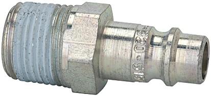 Nippel für Kuppl. NW 7,2-7,8, Stahl gehärtet/verz., R 1/4 - 1/2 AG PTFE