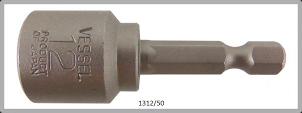 """10 Stück Vessel HEX Steckschlüssel POWER BIT 1/4"""" HEX E6.3 A/F 12.0 X Ø19.0 X 50 (mm)"""