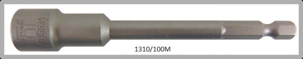 """10 Stück  Vessel magnetische HEX Steckschlüssel POWER BIT 1/4"""" HEX E6.3  A/F 10.0 X Ø16.0 X 100 (mm)"""