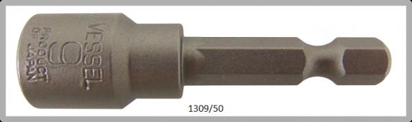 """10 Stück  Vessel HEX Steckschlüssel POWER BIT 1/4"""" HEX E6.3  A/F 9.0 X Ø14.0 X 50 (mm)"""