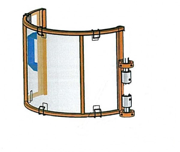 Ersatzteil: Schutzhaube aus Stahl mit Polycarbonatscheibe und Adapter für Schutzeinrichtung TR3B