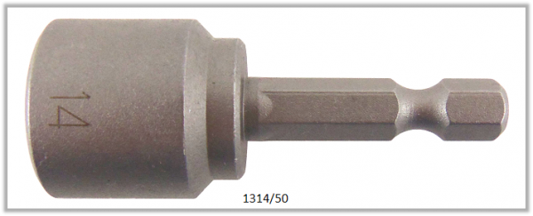 """10 Stück  Vessel HEX Steckschlüssel POWER BIT 1/4"""" HEX E6.3  A/F 14.0 X Ø20.0 X 50 (mm)"""