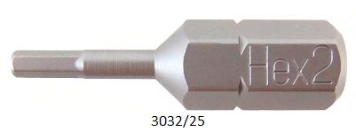 """10 Stück Vessel Industriebit Hexagonal-Schrauben INSERT BIT 1/4"""" HEX E6.3 HEX 2.0 X 25 (mm)"""