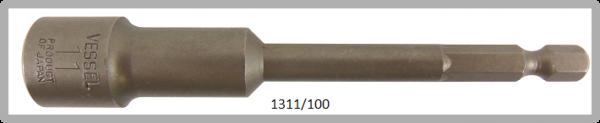 """10 Stück  Vessel HEX Steckschlüssel POWER BIT 1/4"""" HEX E6.3  A/F 11.0 X Ø17.0 X 100 (mm)"""