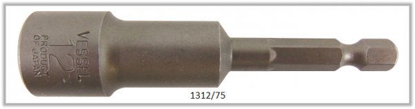 """10 Stück  Vessel HEX Steckschlüssel POWER BIT 1/4"""" HEX E6.3  A/F 12.0 X Ø19.0 X 75 (mm)"""