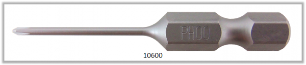"Vessel Industriebit für Phillips-Schrauben POWER BIT 1/4"" HEX E6.3  PH 00 X Ø1.58 X 49 (mm)"