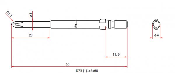Vessel Industriebit für Phillips-Schrauben WING SHANK BIT Ø4mm PH 1 X Ø3.0 X 20 X 60 (mm)