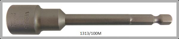 """10 Stück  Vessel magnetische HEX Steckschlüssel POWER BIT 1/4"""" HEX E6.3  A/F 13.0 X Ø19.0 X 100 (mm)"""