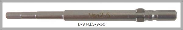 10 Stück Vessel Industriebit Hexagonal-Schrauben WING SHANK BIT Ø4mm HEX 2.5 X Ø3.0 X 20 X 60 (mm)