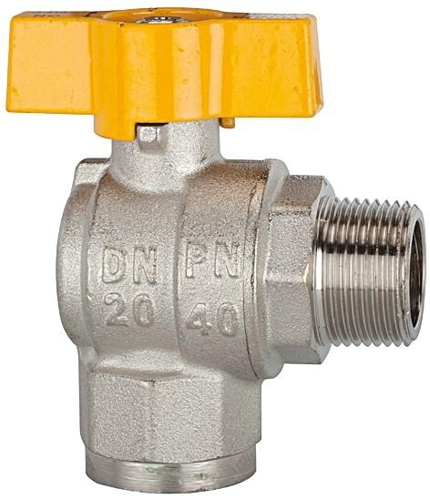 Rectangular ball valve, nickel-plated brass, IT/ET, R/Rp 1/2 - 1, DN 15 - 25