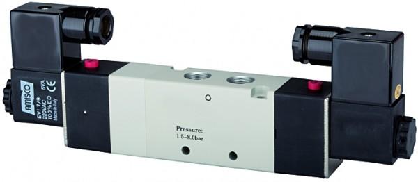 5/3-way valve, electropneumatic »4V« Centre aerated, M5 - G 1/8 - 1/2, 230 V, 50 Hz