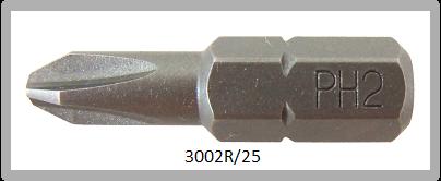 """Vessel Industriebit für Phillips-Schrauben INSERT BIT 1/4"""" HEX E6.3  PH 2 X Ø5.0 X 25 (mm)"""