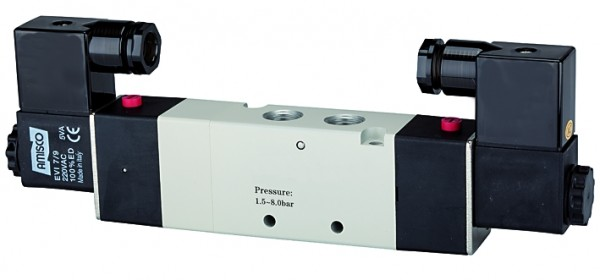 5/3-way valve, electropneumatic, »4V« Centre vented, M5 - G 1/8 - 1/2, 230 V, 50 Hz