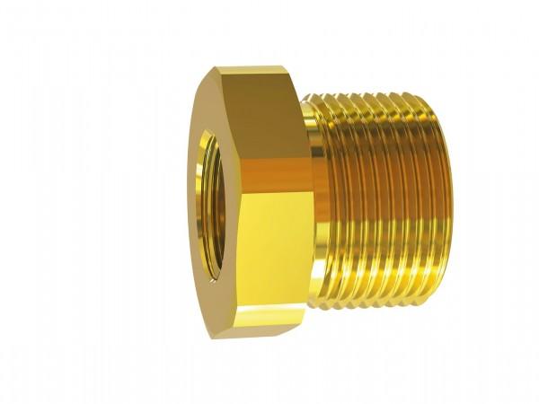 Reducing nipple, short, M14x1.5 ET, M10x1.0 IT, AF 17, Brass