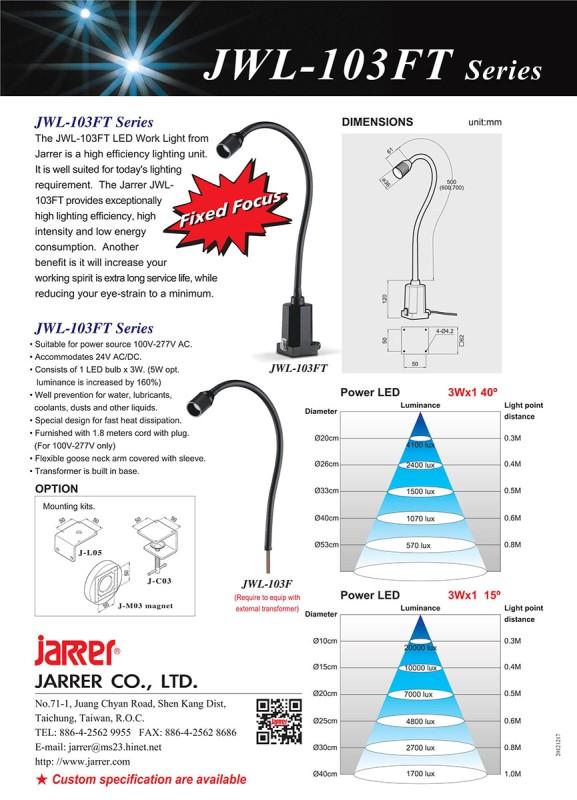 Jarrer JWL-103FT LED Maschinenleuchte IP65; Schwanenhals 500mm; 3 Watt, 24V; Leuchtwinkel 40°