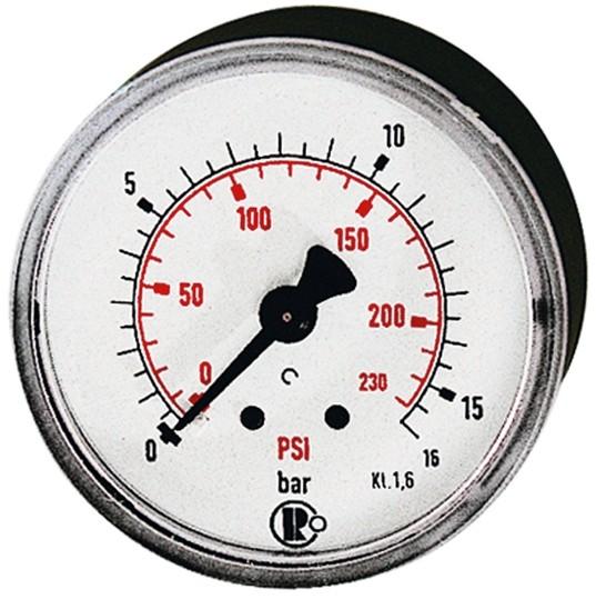 Standard pressure gauge, rear centric, 0 - 16,0 bar/86 - 230 psi, Ø 40