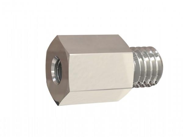Reducing nipple long, M3 - M5 o., M3 - M5 i., AF 7 - 14, Nickel-plated brass