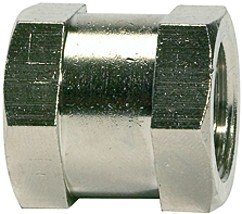 Bushing with exterior hexagonal, M5, AF 8, nickel-plated brass