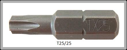 """Vessel Industriebit für Torx-Schrauben INSERT BIT 1/4"""" HEX E6.3  TX 25 X 25 (mm)"""