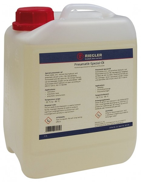 Pneumatic special oil, in canister 2.5 litre, incl. box and docu.
