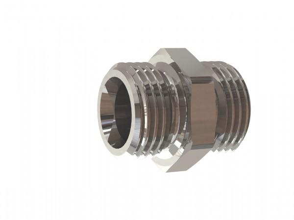 Double threaded nipple, G 1/8 o. - 1/2 o., G 1/8 o. - 1 o., AF 14 - 38 nickel-plated brass