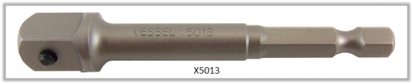 "Vessel POWER BIT 1/4"" HEX E6.3 ADAPTER SQ 3/8"" X 76 (mm)"