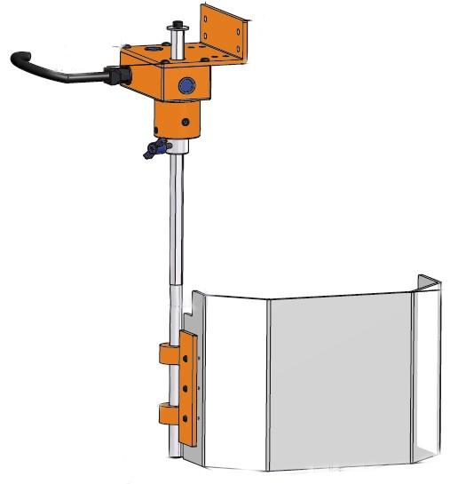 Flexible Bohrmaschinen Schutzeinrichtung TR/3A - eckiger Schirm - Schemazeichnung