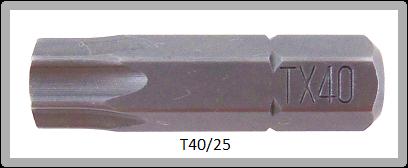 """Vessel Industriebit für Torx-Schrauben INSERT BIT 1/4"""" HEX E6.3  TX 40 X 25 (mm)"""