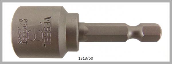 """10 Stück  Vessel HEX Steckschlüssel POWER BIT 1/4"""" HEX E6.3  A/F 13.0 X Ø19.0 X 50 (mm)"""