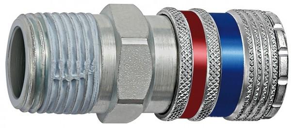 Safety coupling I.D. 7.6, Steel / brass galv., R 1/4 - 1/2 ET