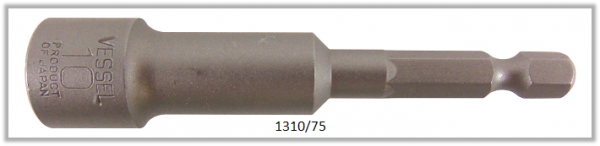 """10 Stück  Vessel HEX Steckschlüssel POWER BIT 1/4"""" HEX E6.3  A/F 10.0 X Ø16.0 X 75 (mm)"""